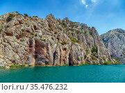 Rocks along the banks of the river in the national park Krka, Croatia. Стоковое фото, фотограф Zoonar.com/Boris Breytman / easy Fotostock / Фотобанк Лори