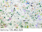 Abstract paint background. Color texture. Brushstrokes of paint. Modern art. Contemporary art. Colorful canvas. Random Watercolor drips. Brush strokes of multicolored acrylic paint on white canvas. Стоковое фото, фотограф Nataliia Zhekova / Фотобанк Лори