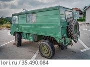Zaton, Croatia, June 2019 Odd vehicle, most likely customised military... Стоковое фото, фотограф Zoonar.com/Dawid Kalisinski / age Fotostock / Фотобанк Лори