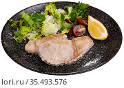 Grilled tuna fillet served with vegetable garnish. Стоковое фото, фотограф Яков Филимонов / Фотобанк Лори