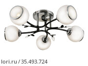 Black five-lamp chandelier with chrome base and white matt shades. Isolated on white background. Стоковое фото, фотограф Вадим Орлов / Фотобанк Лори