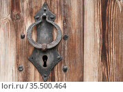 Old forged keyhole and knocker ring. Стоковое фото, фотограф EugeneSergeev / Фотобанк Лори