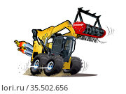 Vector Cartoon Land Clearing Mulcher. Стоковая иллюстрация, иллюстратор Александр Володин / Фотобанк Лори