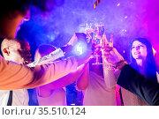New year celebration party, holidays, nightlife and people concept... Стоковое фото, фотограф Zoonar.com/Tatiana Badaeva / easy Fotostock / Фотобанк Лори