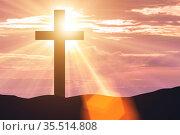 Religious concept with cross against sky. Стоковое фото, фотограф Elnur / Фотобанк Лори