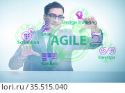 Agile concept with business people pressing buttons. Стоковое фото, фотограф Elnur / Фотобанк Лори