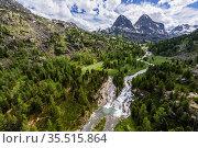 Cascade of waterfalls, Shinok River Tog-Altai, Russia. Стоковое фото, фотограф Olga Kamenskaya / Nature Picture Library / Фотобанк Лори