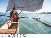 Pirogue, a traditional Madagascar sailing boat, Ifaty, Madagascar... Стоковое фото, фотограф Matthew Williams-Ellis / age Fotostock / Фотобанк Лори