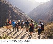 Tourists arriving to Sangalle village after Colca Canyon trek at ... Стоковое фото, фотограф Matthew Williams-Ellis / age Fotostock / Фотобанк Лори