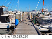 Boats tied to the pier of Challenger Harbour - Fremantle, WA, Australia... Стоковое фото, фотограф Zoonar.com/Laszlo Konya / easy Fotostock / Фотобанк Лори