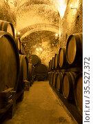 Ancient wine cellar with rows of wooden wine barrels. Стоковое фото, фотограф Наталья Волкова / Фотобанк Лори