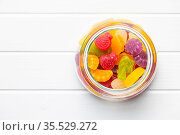 Colorful fruity jelly candies in jar. Top view. Стоковое фото, фотограф Zoonar.com/JIRI HERA / easy Fotostock / Фотобанк Лори