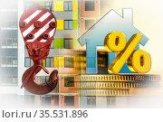 Символ недвижимости на фоне фасада жилого дома / Стоковое фото, фотограф Сергеев Валерий / Фотобанк Лори