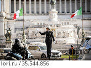 Cristina Corbucci, the first female traffic controller to stand on... Редакционное фото, фотограф AGF/Alessandro Serrano' / AGF / age Fotostock / Фотобанк Лори
