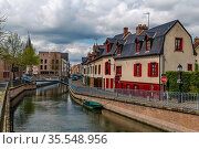 Embankment of Somme river in Amiens, France. Стоковое фото, фотограф Zoonar.com/Boris Breytman / easy Fotostock / Фотобанк Лори