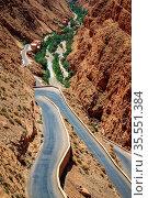 Winding road through impressive Dades gorge, Morocco. Стоковое фото, фотограф Zoonar.com/Pawel Opaska / easy Fotostock / Фотобанк Лори