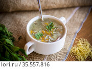cooked hot soup with noodles and vegetables. Стоковое фото, фотограф Peredniankina / Фотобанк Лори