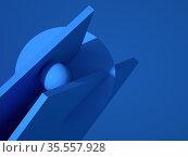 Abstract blue minimal 3d still life installation. Стоковая иллюстрация, иллюстратор EugeneSergeev / Фотобанк Лори
