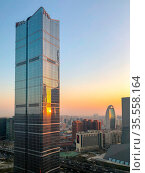Towers in Central Business District of Beijing during sunrise. Beijing... Стоковое фото, фотограф Zoonar.com/Thomas De Wever / age Fotostock / Фотобанк Лори