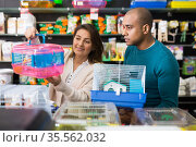 Husband and wife choosing a hamster cage at pet store. Стоковое фото, фотограф Яков Филимонов / Фотобанк Лори