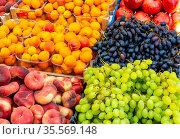 Weintrauben, Pfirsiche und Pflaumen zum Verkauf auf einem Markt. Стоковое фото, фотограф Zoonar.com/elxeneize / easy Fotostock / Фотобанк Лори