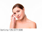 Undress elegant woman with tightly combed hair. Beauty concept. Стоковое фото, фотограф Zoonar.com/Svyatoslav Lypynskyy / easy Fotostock / Фотобанк Лори