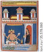 Brahma, Hindu 'Absolute', receiving an offering. Brahma first in ... Редакционное фото, агентство World History Archive / Фотобанк Лори