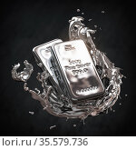 Silver bar or bullion ingot in liquid silver metal splash on black background. Стоковое фото, фотограф Maksym Yemelyanov / Фотобанк Лори