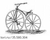 Pickering's crank-pedal driven bicycle, an American design. Wood ... Редакционное фото, агентство World History Archive / Фотобанк Лори