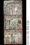 Page from Dresden Maya manuscript showing section of a 'tonalamatl... Редакционное фото, агентство World History Archive / Фотобанк Лори