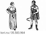 Reconstruction of costume of Germanic tribes in Ancient Roman times... Редакционное фото, агентство World History Archive / Фотобанк Лори