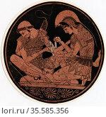 Achilles, hero of Homer's epic poem 'Iliad', bandaging the wound ... Редакционное фото, агентство World History Archive / Фотобанк Лори