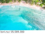 Mahe, Seychellen - 9. Februar 2020: Takamaka Strand Mahé Mahe Paradies... Стоковое фото, фотограф Zoonar.com/Markus Mainka / easy Fotostock / Фотобанк Лори