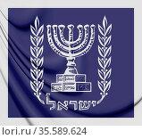 3D Presidential Standard of Israel. 3D Illustration. Стоковое фото, фотограф Zoonar.com/Inna Popkova / easy Fotostock / Фотобанк Лори