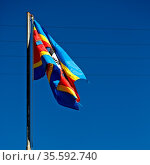 Blur in swaziland waving flag and sky like abstracr concept. Стоковое фото, фотограф Zoonar.com/LKPRO / easy Fotostock / Фотобанк Лори