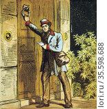 The Postman's Knock. Postman in Royal Mail uniform using door knocker... Редакционное фото, агентство World History Archive / Фотобанк Лори