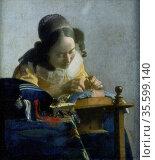 The Lace Maker' c1664: Johannes Vermeer (1632-1674) Dutch painter... Редакционное фото, агентство World History Archive / Фотобанк Лори