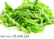 fresh farm arugula on a white background. Стоковое фото, фотограф Татьяна Яцевич / Фотобанк Лори