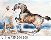 Le Dressage'  Man training (breaking) a horse with docked tail.   ... Редакционное фото, агентство World History Archive / Фотобанк Лори