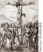 Christ on the Cross. Master of Nuremberg, c1480. Pen and sepia ink... Редакционное фото, агентство World History Archive / Фотобанк Лори