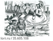 France and Britain watching the children (John Bull, Mr Punch and... Редакционное фото, агентство World History Archive / Фотобанк Лори