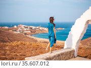 Traditional white house with sea view in Mykonos island,Greece. Стоковое фото, фотограф Дмитрий Травников / Фотобанк Лори