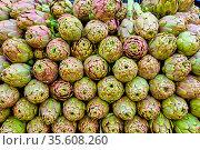 Ein Stapel Artischocken zum Verkauf auf einem Markt. Стоковое фото, фотограф Zoonar.com/elxeneize / easy Fotostock / Фотобанк Лори