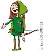 Cartoon Illustration of Girl in Robin Hood or Archer Costume at Halloween... Стоковое фото, фотограф Zoonar.com/Igor Zakowski / easy Fotostock / Фотобанк Лори