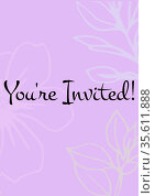 You're invited written in black letters, with white flowers on invite with pink background. Стоковое фото, агентство Wavebreak Media / Фотобанк Лори