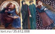 Dante Gabriel Rossetti, Paolo e Francesca da Rimini,1855. Редакционное фото, агентство World History Archive / Фотобанк Лори