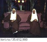 Amir Khaled, left, and Amir Faisal, sons of King Ibn Saud of Saudi... Редакционное фото, агентство World History Archive / Фотобанк Лори