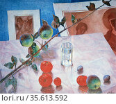 Stil Life: Fruit, glass of water and branch of apples. 1918. Oil ... Редакционное фото, агентство World History Archive / Фотобанк Лори