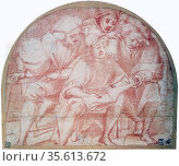 Four Singers', red crayon with traces of pencil.  Pontomoro (Jacopo... Редакционное фото, агентство World History Archive / Фотобанк Лори