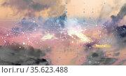 Abstraktes geometrisches Netzwerk aus Linien und Punkte auf Himmels... Стоковое фото, фотограф Zoonar.com/wolfgang rieger / easy Fotostock / Фотобанк Лори